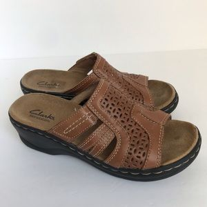 Clarks | Brown Cutout Slip On Sandal